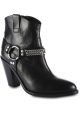 Saint Laurent Women's rounded toe ankle boots in black leather with strap and heel