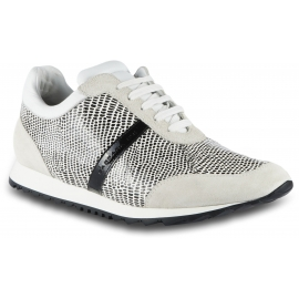 Barbara Bui Women's low top sneakers shoes in white and black leather with python print
