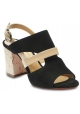 Barbara Bui Women's heeled sandals in black suede leather and nude patent leather