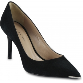 Barbara Bui Women's metal pointed toe pumps shoes in black suede leather