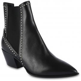 Barbara Bui Women's pointed toe mid heels ankle boots in black leather with silver studs