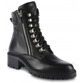 Barbara Bui Women's ranger ankle boots with laces and side zips in black leather