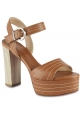 Barbara Bui Women's high heels platform sandals in brown leather with buckle closure