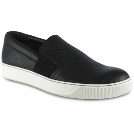 Lanvin Men's slip-on sneakers in perforated black leather with side elastic bands