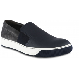 Lanvin Men's slip-on sneakers in blue leather and grey suede with side elastic bands