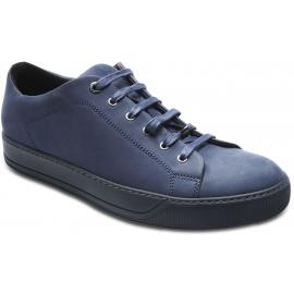 Lanvin Men's lace-up low sneakers in dark blue leather matt effect