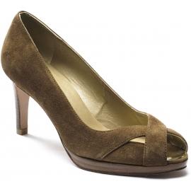 Stuart Weitzman Women's open toe pumps shoes in tan suede with golden metallic tip