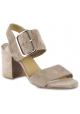 Stuart Weitzman Women's heeles sandals in taupe suede leather with buckle closure