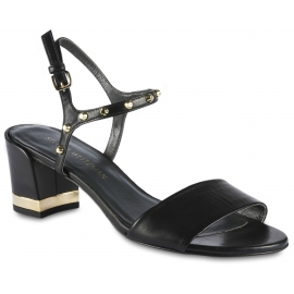 Stuart Weitzman Women's squared heels sandals in black leather with gold studs