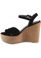 Stuart Weitzman Women's wedges sandals in black suede leather with lizard print