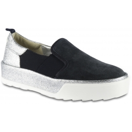 Hogan Women's slip-on sneakers in blue suede with elastic bands and glitter