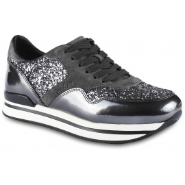 Hogan Women's lace-up sneakers in grey leather and suede with glitter