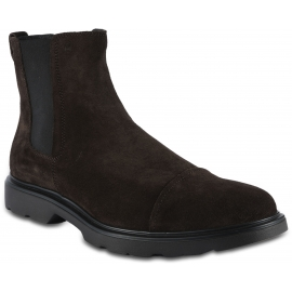 Hogan Men's ankle boots in brown suede leather with side elastic bands