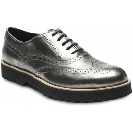 Hogan Women's brogues oxfords shoes in lead leather with metallic effect