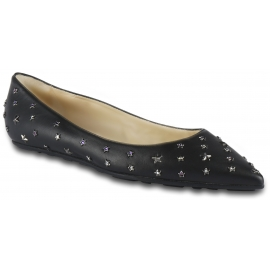 Jimmy Choo Women's pointed toe ballet flats shoes in black leather with star-shaped studs