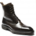 Carlos Santos Men's handmade lace-ups ankle boots in brown calf leather
