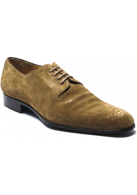 Jean-Baptiste Rautureau Men's half brogues derby shoes in tan suede leather