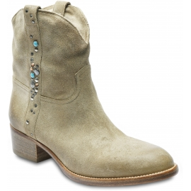 Sartore Women's texan ankle boots in beige suede leather with multicolored studs