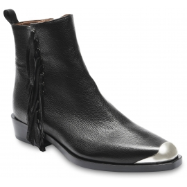 Sartore Women's ankle boots with fringes and metal tip in black leather side zip closure