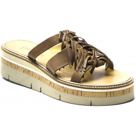 Sartore Women's platform mules sandals with fringes in taupe leather