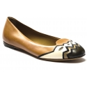 Sartore Women's slip-on ballet flats in black and white tan leather with embroidery on tip