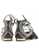 Aquazzura strappy ballerina in black Soft leather