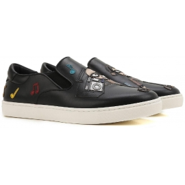 Dolce&Gabbana men's slip-on sneakers in black Leather