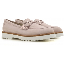 Hogan women's loafers shoes in pink suede leather