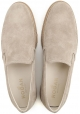 Hogan men's slip-ons loafers shoes in beige suede