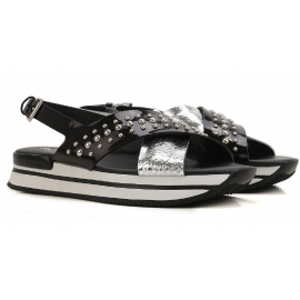 Hogan flat sandals shoes in black and silver patent leather