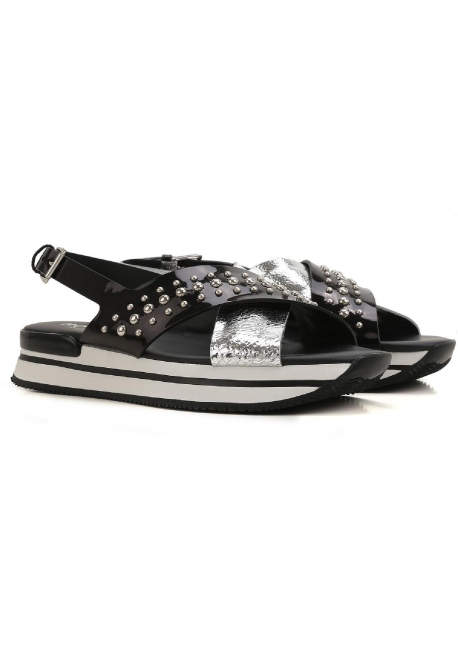 e2fa1dc6177 Hogan flat sandals shoes in black and silver patent leather ...