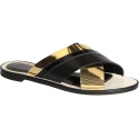 Lanvin women crossed slippers sandals in black/gold leather
