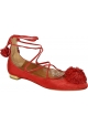 Aquazzura strappy ballerinas in red Suede leather