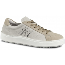 Hogan H302 men's sneakers shoes in beige suede leather
