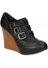 Chloé women wedges in black Leather