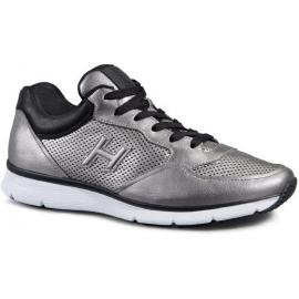 Hogan men sneakers in silver Laminated calf leather