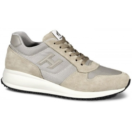 Hogan men sneakers in beige Leather Suede Fabric