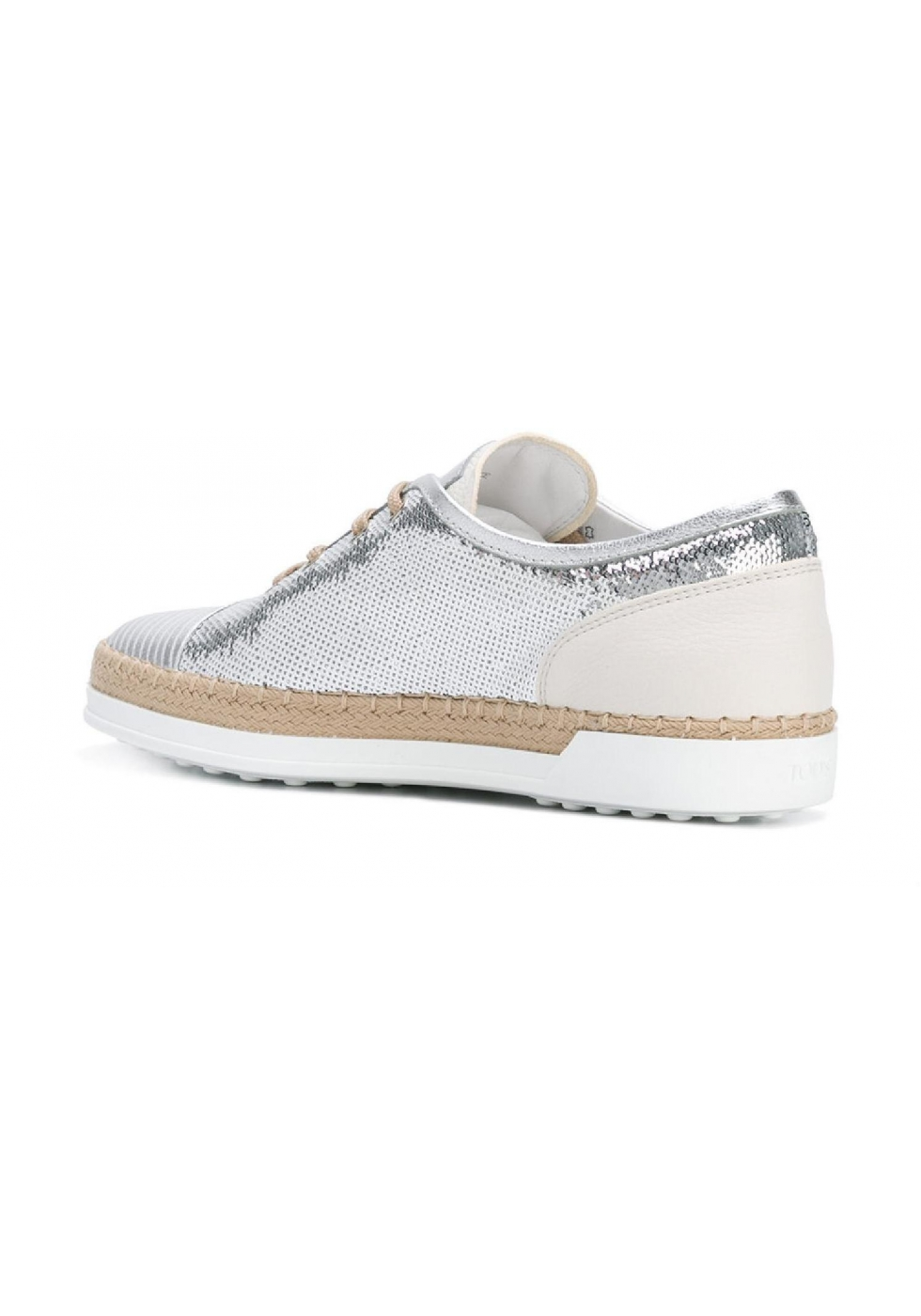Tod's women's sneakers in silver sequins and leather ...