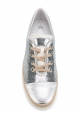 Tod's women's sneakers in silver sequins and leather