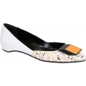 Pierre Hardy pointed toe ballerina in white Calf leather