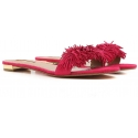 Aquazzura slippers sandals in Fuchsia Suede leather