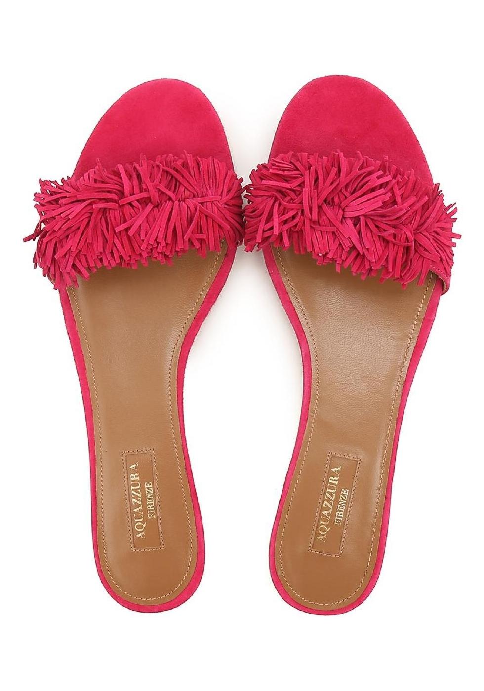 American Car Brands >> Aquazzura slippers sandals in Fuchsia Suede leather ...