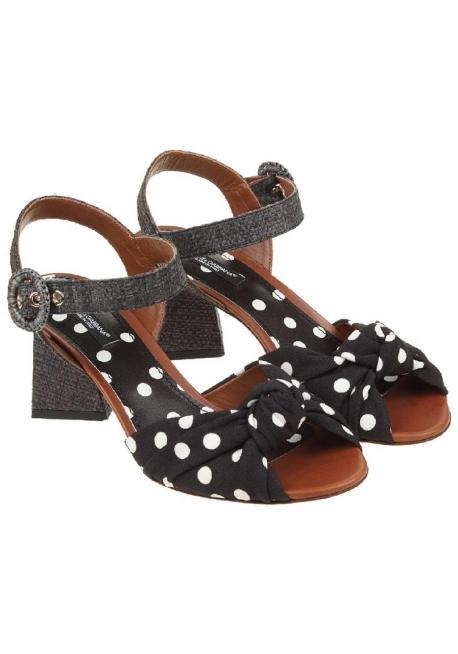 Dolce&Gabbana high heel sandals in black Leather Fabric