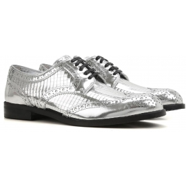 Dolce&Gabbana women's lace-up in silver calf leather