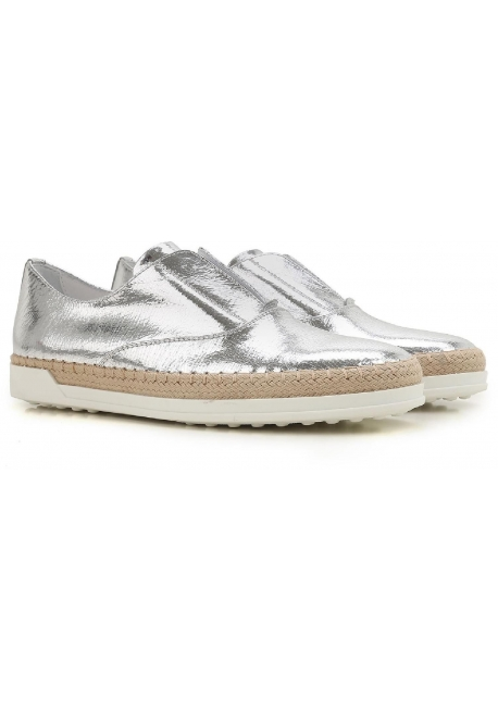 Tod's women's silver metallic leather slipon sneakers