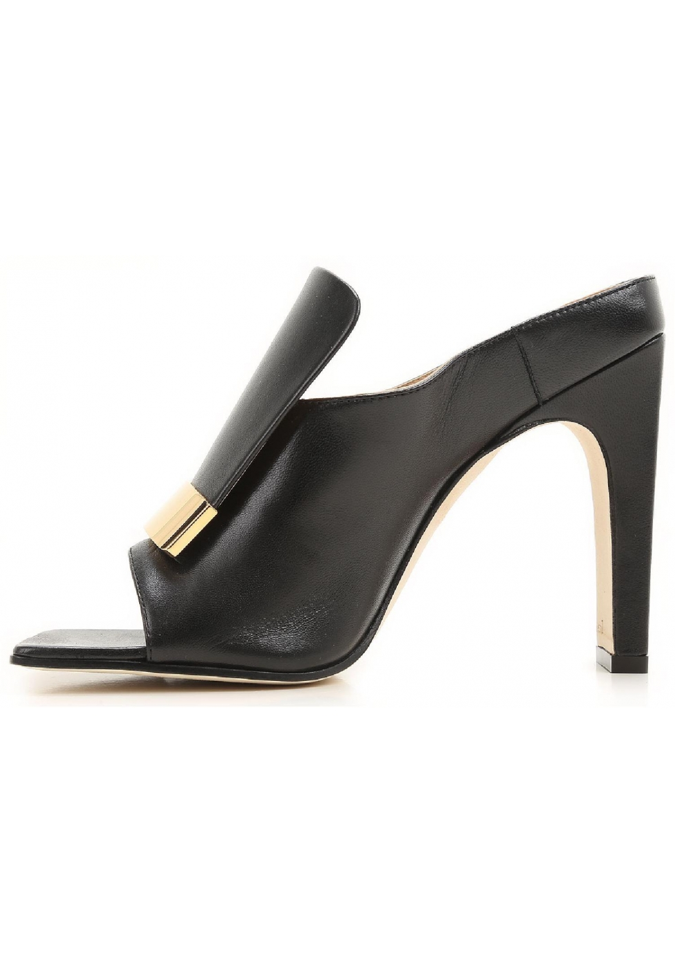 Sergio Rossi High Heels Mules In Black Leather Italian Boutique