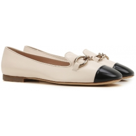 Tod's flats ballerinas in off white lux leather black toe