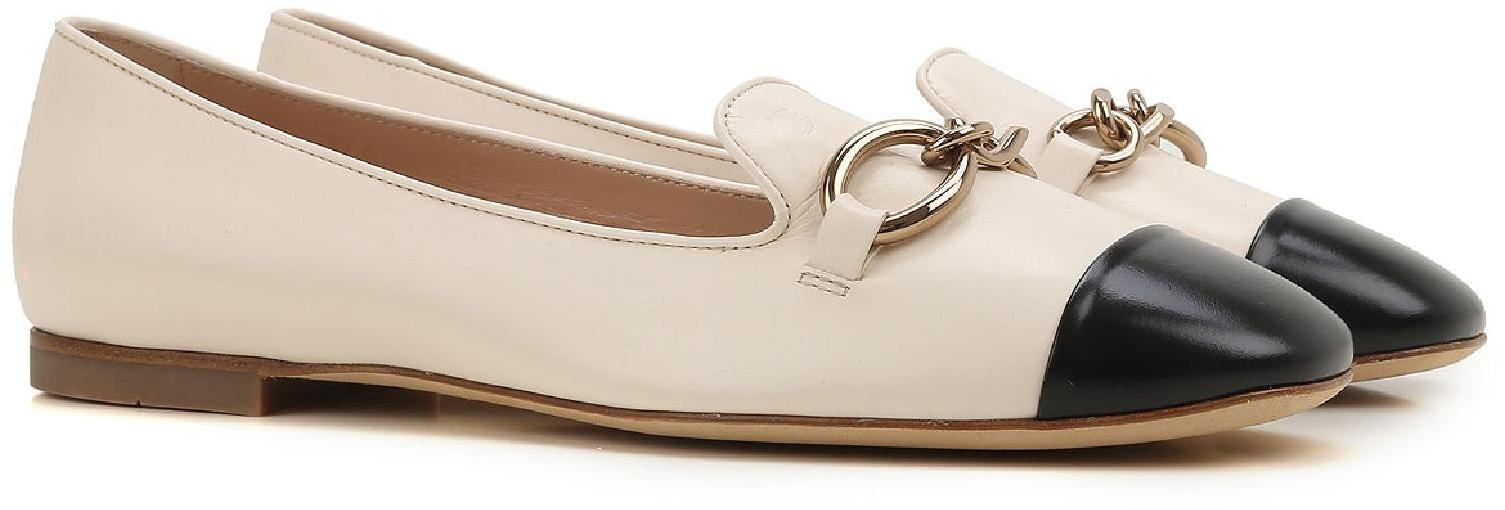 89589dd6d211d Tod's flats ballerinas in off white lux leather black toe - Italian Boutique