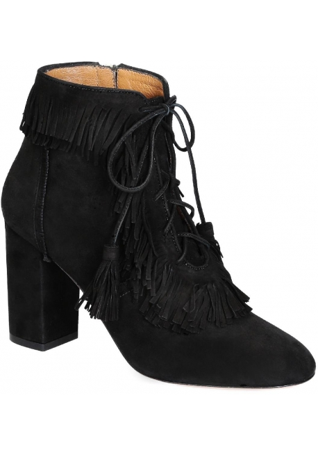 Aquazzura high heels booties in black Suede leather