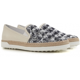 Tod's women's slip-ons sneakers blu paiette and leather